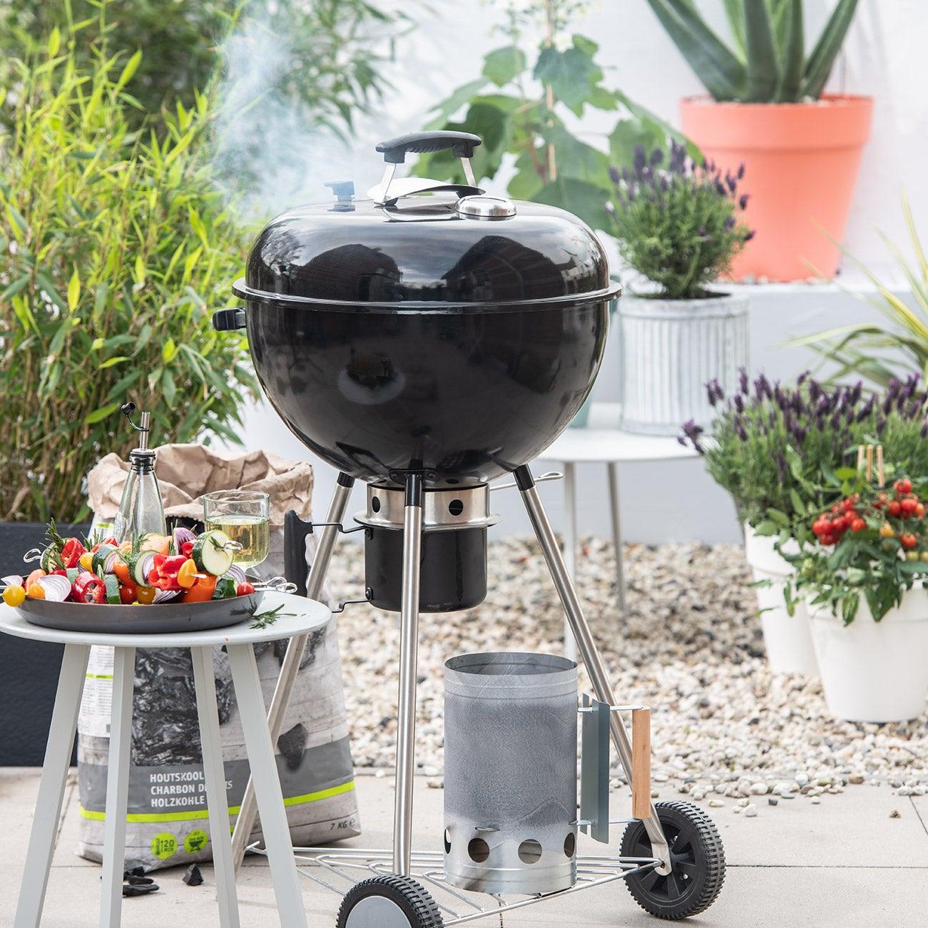 Barbecue, houtskoolbarbecue, brikettenstarter, houtskool