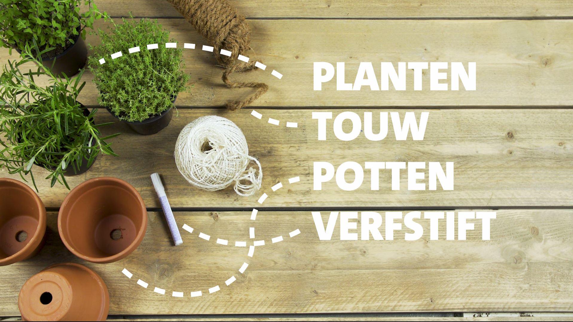 DIY, kruidenhanger, kruidenplantjes, terracotta potten, touw, verfstift