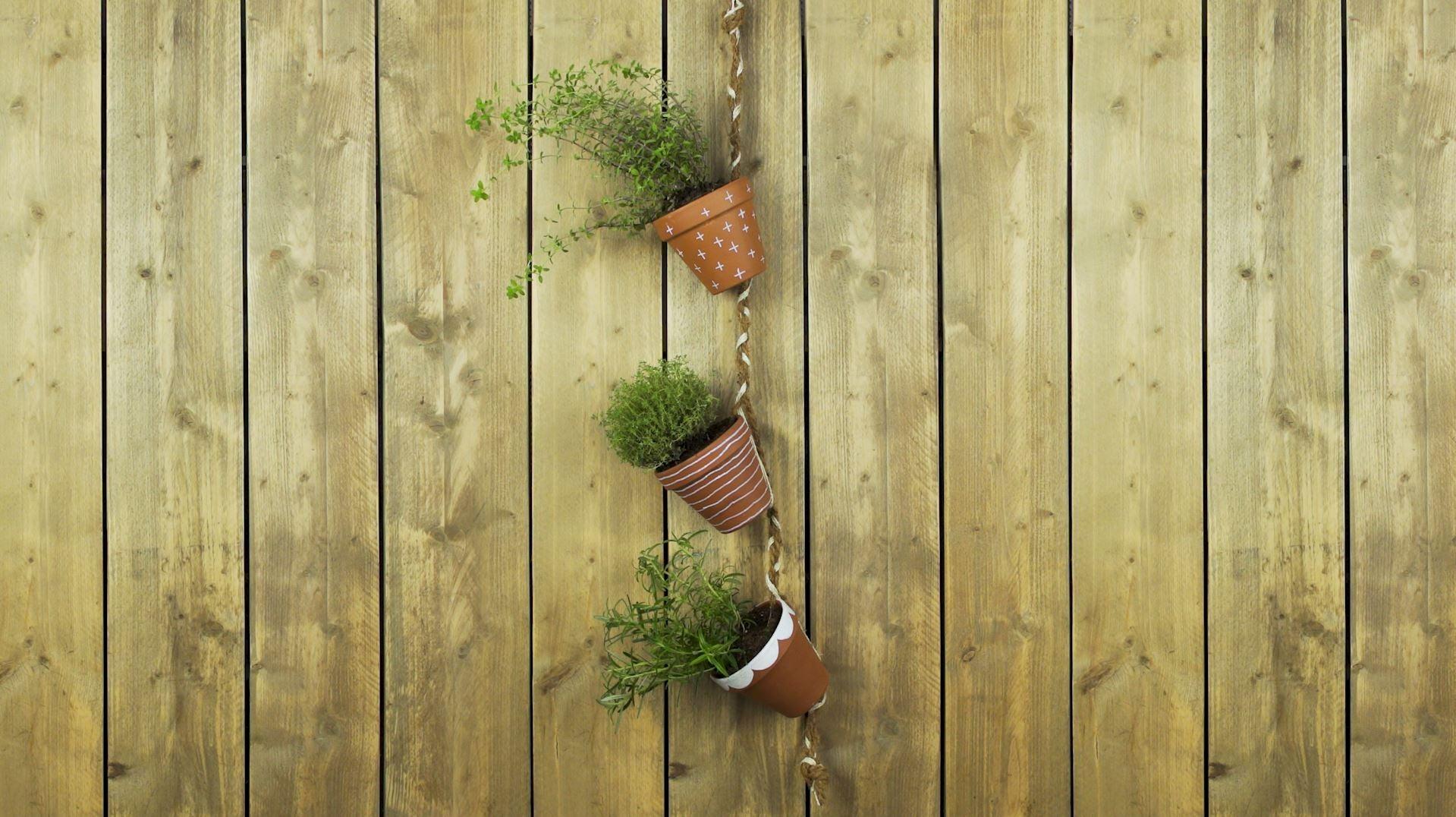 DIY, kruiden, hangpot, touw, potgrond