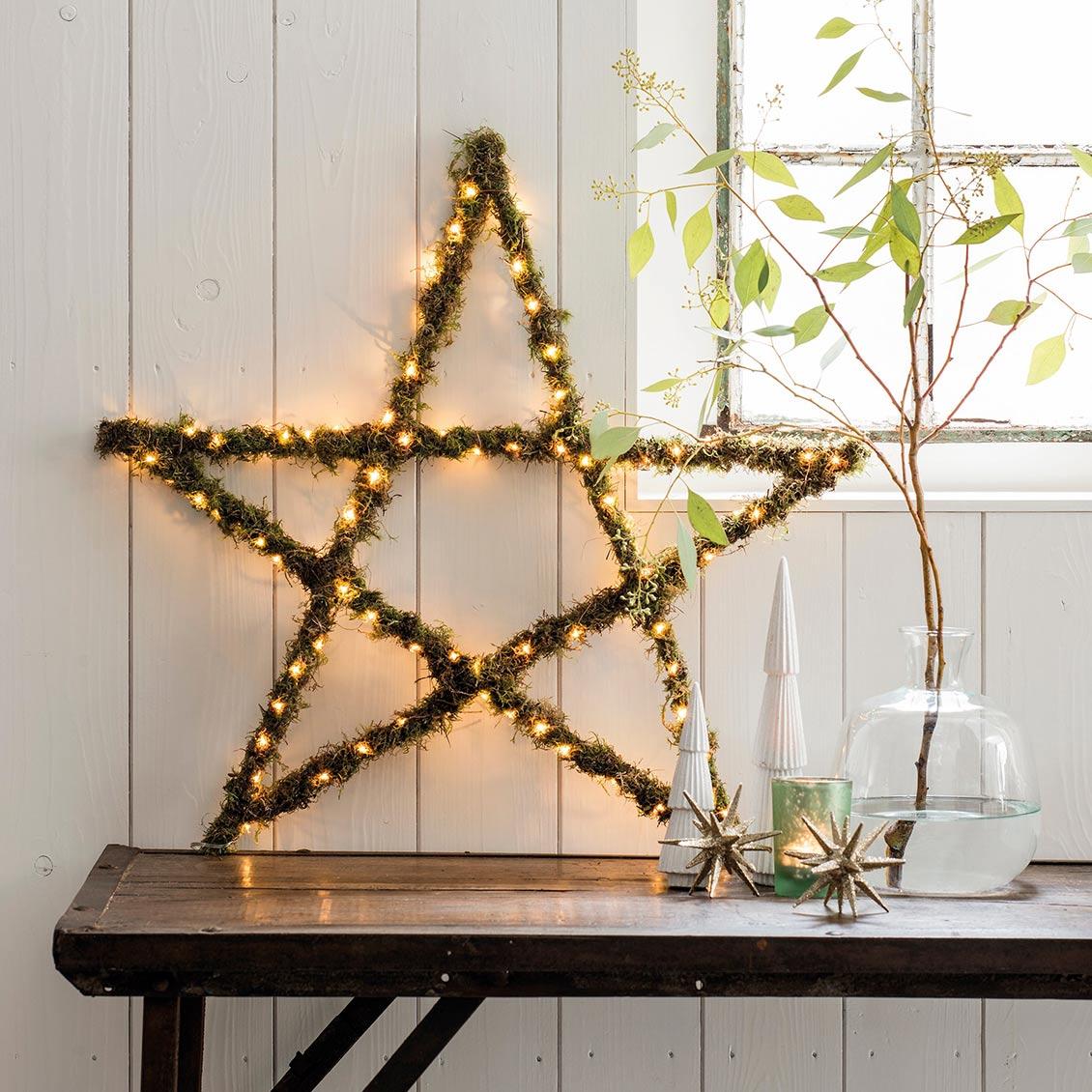 DIY Kerstster met verlichting resultaat