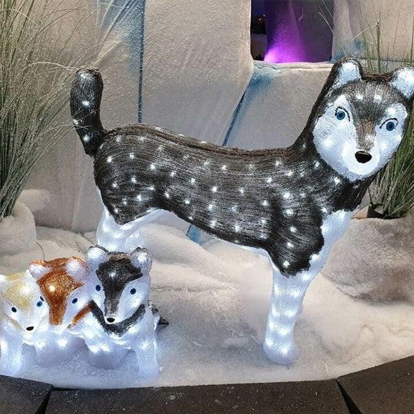 Verlichte kerfiguren: wolven