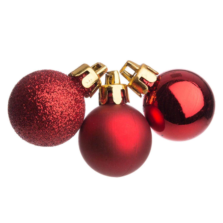 Kerstbal D 3 cm 27 stuks rood