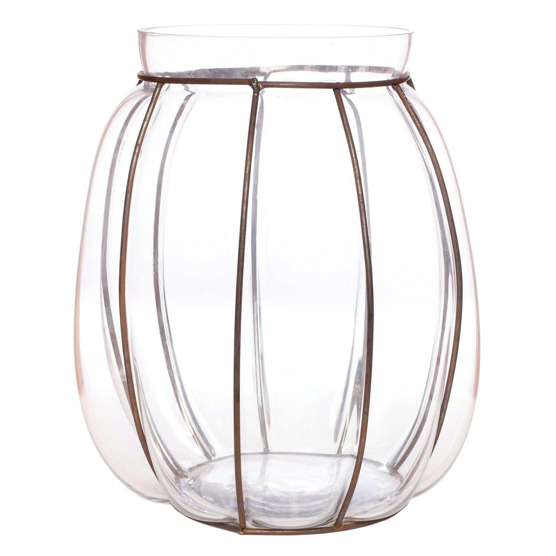 Intratuin vaas D 34 H 36 cm glas met metalen frame