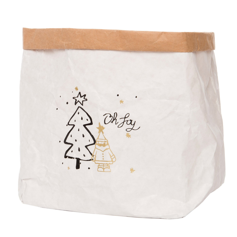 Intratuin papieren zak kerstman 22 x 22 x 23 cm wit / bruin