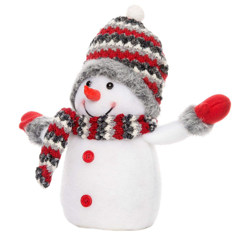 Intratuin lichtfiguur sneeuwpop gespreide armen rood 16 x 11,5 x 31 cm
