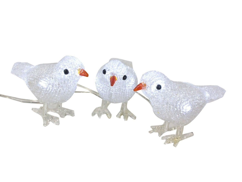 Vogel met LED verlichting H 15 cm 3 stuks wit