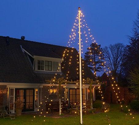 Vlaggenmast kerstboom H 700 cm met 360 LED lampjes warm wit