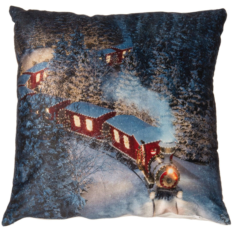 Kerstkussen trein met verlichting 45 x 45 cm