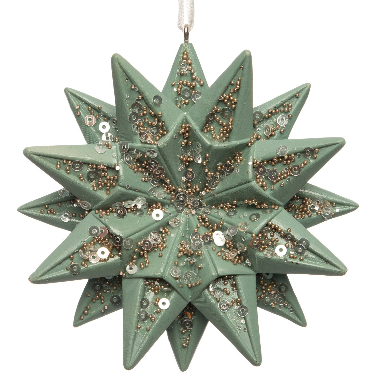 Intratuin kerstboomhanger ster groen 9,4 x 9,4 x 2,3 cm