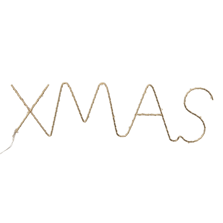 Intratuin kerstlamp Xmas goud 37 x 2,5 x 11 cm met 30 lampjes warm wit