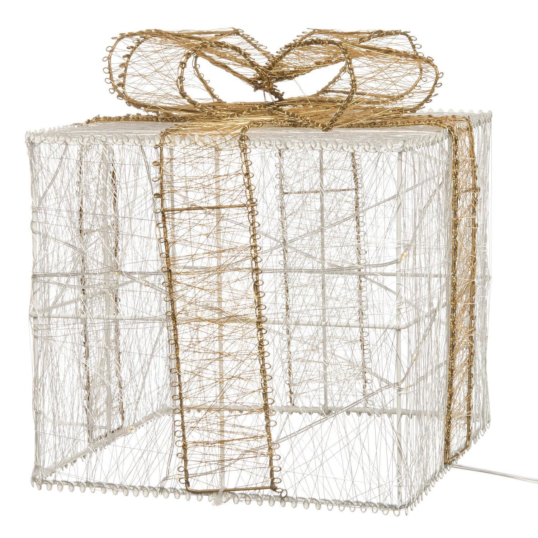 Intratuin lichtfiguur cadeau wit / goud 25 x 25 x 29 cm met 35 lampjes warm wit