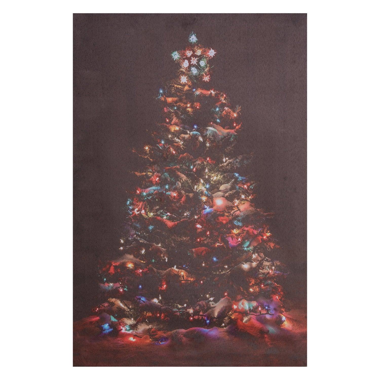 Intratuin canvas met LED en koort kerstboom gekleurd 40 x 1,8 x 60 cm