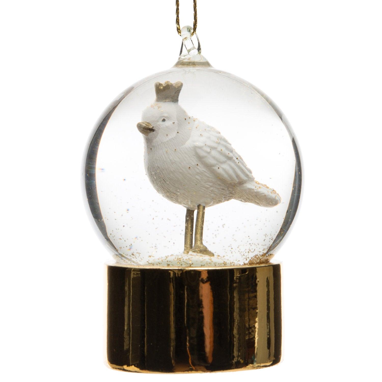Intratuin sneeuwbol vogel goud / wit D 4,5 H 6 cm