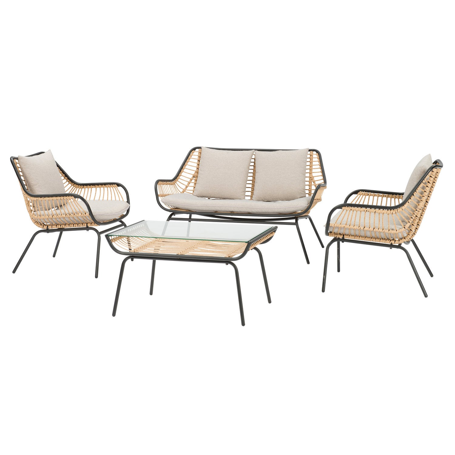 Intratuin 4-zits loungeset Zita wicker naturel
