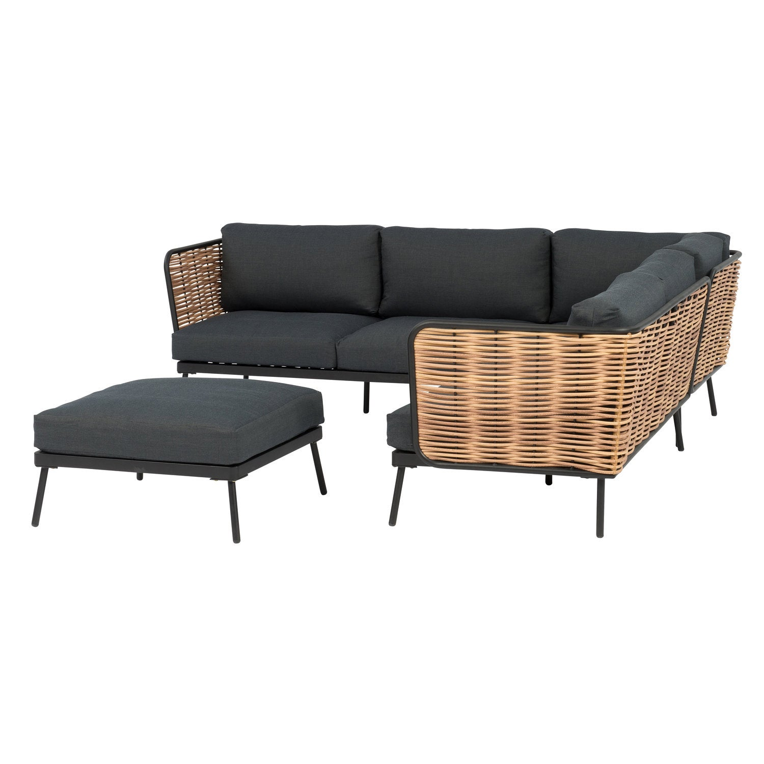 Intratuin 6-zits loungeset Leonardo wicker naturel