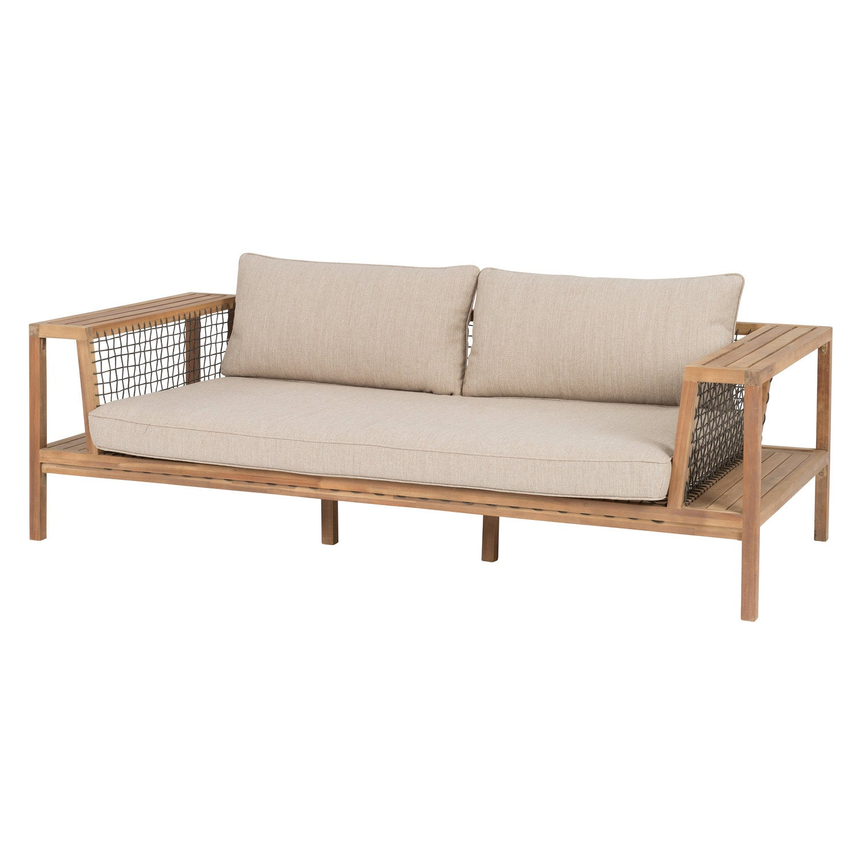 Intratuin 3-zits loungebank Langon acaciahout bruin