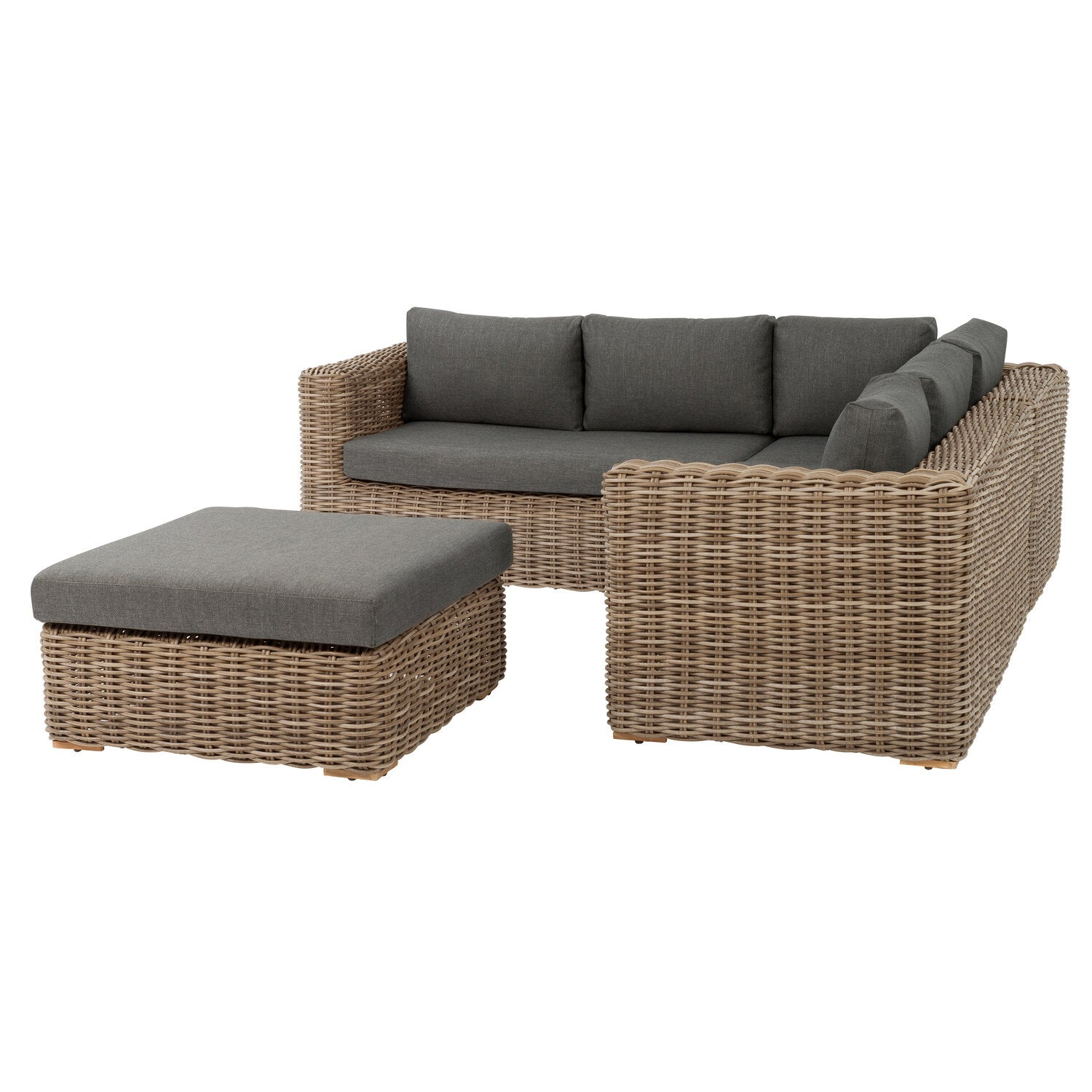 Intratuin 6-zits loungeset Royal wicker naturel