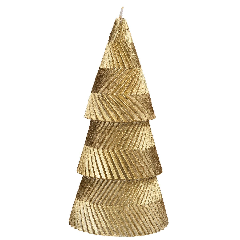 Intratuin kaars kegel met lijnen goud D 8 H 18 cm
