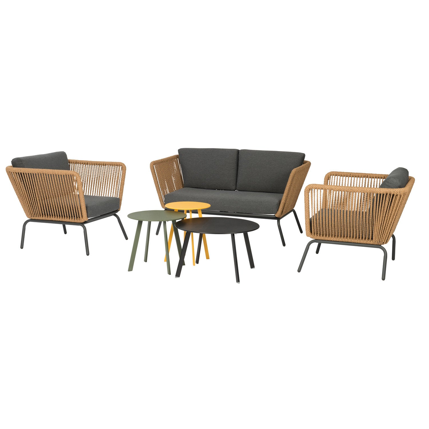 Intratuin 4-zits loungeset Iris wicker naturel