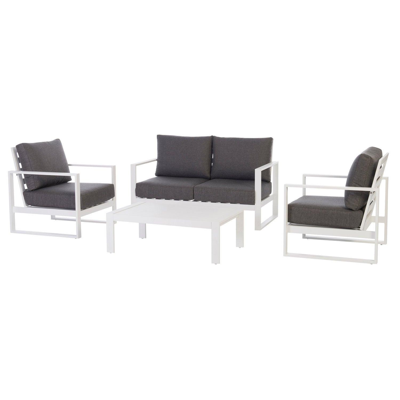 Intratuin 4-zits loungeset Edo aluminium wit