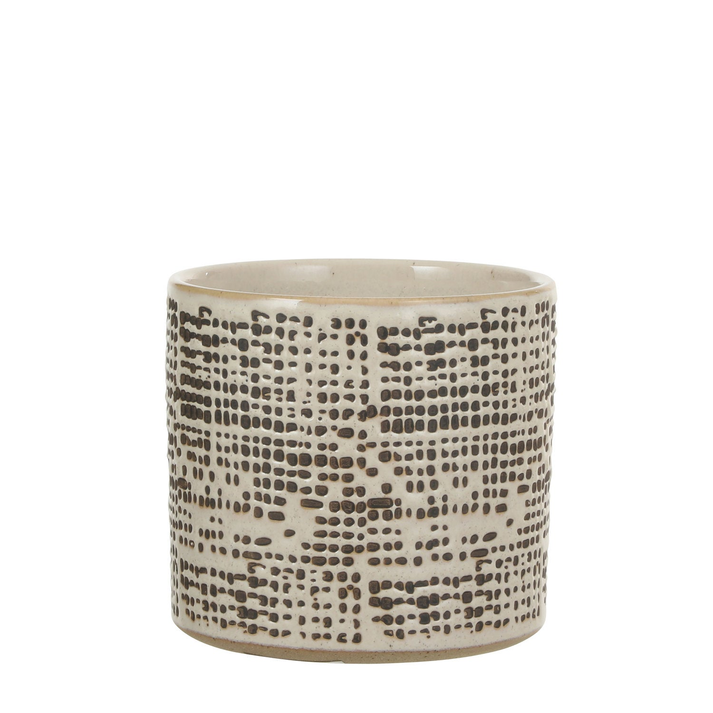 Mica Decorations bloempot Bono crème / bruin D 14 H 13 cm