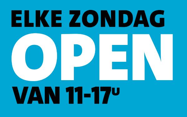 Elke zondag open van 11.00 tot 17.00uur