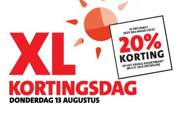 XL KORTINGSDAG 13 AUGUSTUS